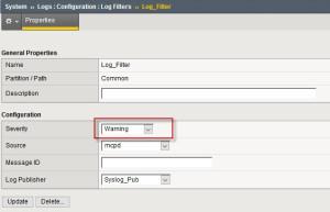 BIG-IP LTM log filter settings