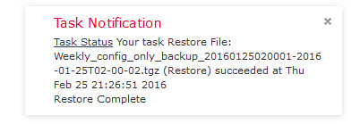 Sourcefire restore completed