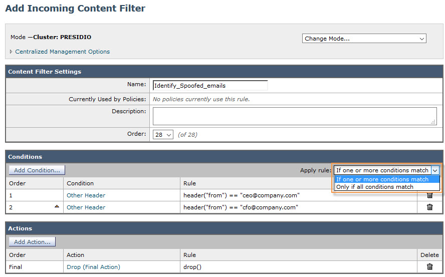 Ironport Other Header condition logical OR