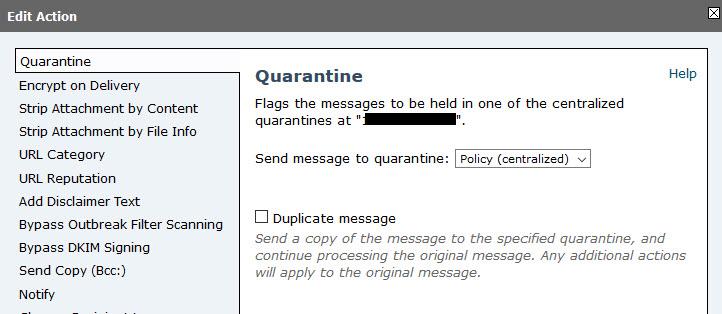 Ironport Quarantine Action