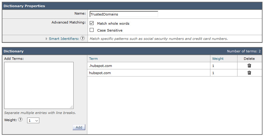 Ironport Spoof Dictionary Trusted Domains