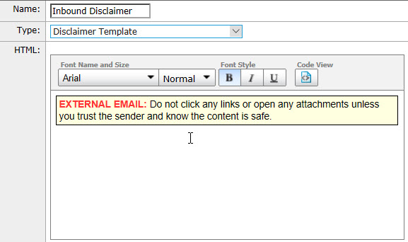 email disclaimer template